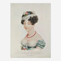19th century Empire period French female Portrait of Beautiful Italian Woman, original etching