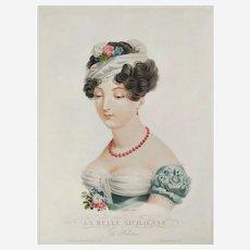 19th century Empire period French female Portrait of Beautiful Italian Woman, original etching
