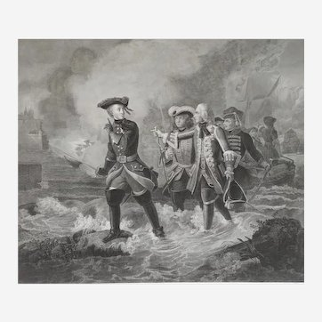 Historical battle Charles XII Carl of Sweden Engraving  19th century