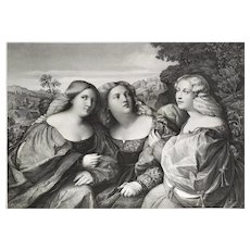 Female Portrait 19th lithography after Italian oil painting by Palma Vecchio, Die Töchter Des Giacomo Palma