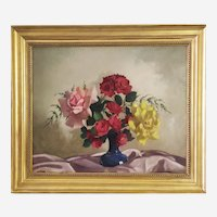 Mid century Still life with flowers Roses oil painting by Belgian painter