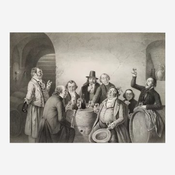 19th Lithographyt after J. Hasenclever Les fins gourmets