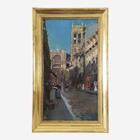 Landscape painting Dieppe Saint Jacques Church, 19th, French antique oil painting