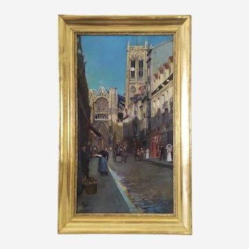 Landscape painting Dieppe Saint Jacques Church, 19th, French antique oil painting