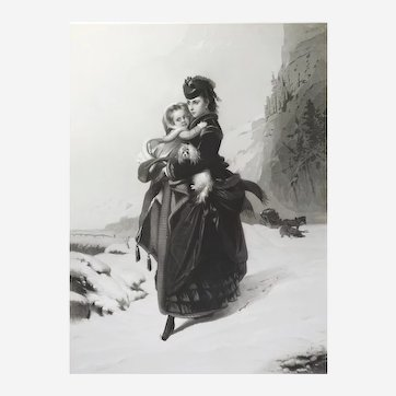 Etching  A critical position after french oil painting by Constant Brochart 19th century