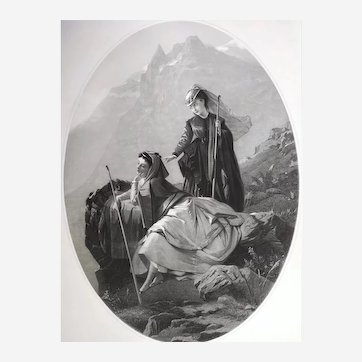 Etching The Mountain after Brochart 19th Century