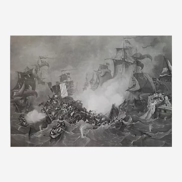 Naval battle etching The Avenger after Garneray 19th century