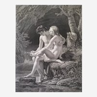 Greek Mythology neoclassical etching Daphnis and Chloë dated 1817