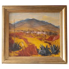 Landscape in Mexico by Enrique Bryant oil on canvas Mid Century 20th