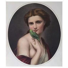 Portrait of Woman with a green budgerigar  lithograph 19th Goupil Publishers