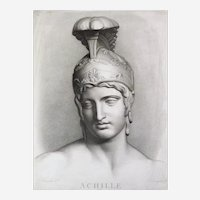 Mythological Engraving Achilles 19th c etching Ancient Greek Mythology
