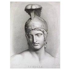 Mythological Engraving Achilles 19th c etching Ancient Greek Mythology