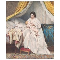 Antique Lithograph 19th - Mother with Child - Watercolor Print