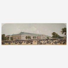 Landscape Antique  lithograph 19th c Paris Panoramic View Champs Elysées - Watercolor Print