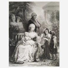 Marie-Antoinette and Louis XVI at Trianon Large engraving 19th century