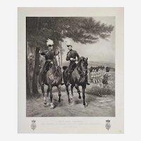 Edward VII And Duke Of Connaught In Aldershot Photogravure 19th c Equestrian Portrait