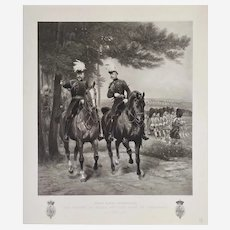 Edward VII And Duke Of Connaught In Aldershot Photogravure 19th c Equestrian Portrait