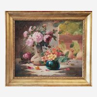 Still Life oil Painting - Mid Century Flower Painting -  Framed Oil on Canvas 1950s
