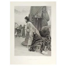 """""""Land! Land!"""" etching after English Oil Painting by Henry Bacon dated 1883"""