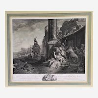 18th c Engraving The Party Of Pleasure After Painting By Weenix