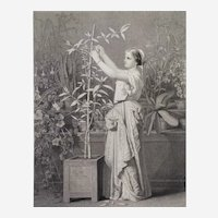 19thc Etching Taking Care After Hamon Gravure Old Print