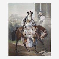 Amazon Watercolor Lithograph  After Alfred De Dreux 19th Century Horse