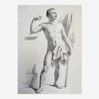 Standing nude male holding a flag Large lithograph 19th century