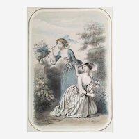 "Original antique french lithograph ""Frivolity"" by Adel-Anaïs Toudouze 19th c"