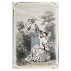 "Original antique french lithograph ""Frivolity"" by Adel-Anaïs Toudouze 19th c"
