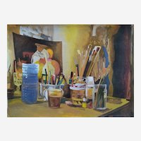 Still Life The studio, Montparnasse Oil  and gouache on board figurative painting