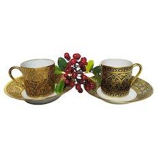 Set of Limoges Porcelain Cups, Set of 2 Golden Vintage French Fine Porcelain handmade handpainted porcelain