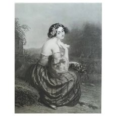 French Female Portrait Etching 19th C. Rose Of Love