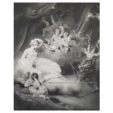 Venus And Adonis English Mythological Engraving 19th Empire Period Dated 1802
