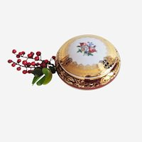 Jewellery Box in Fine Gilted Porcelain Limoges French Vintage Porcelain Floral decor