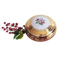 Jewellery Box in Fine Gilted Porcelain Limoges French Vintage Porcelain Floral decor