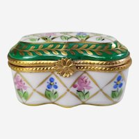 Vintage Pill Box - Limoges Porcelain Miniature Trinket Box - Jewelry Box with Hand Painted Floral Decor Mid Century