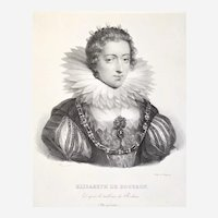 Queen portrait Elisabeth Of Bourbon History Lithography After Rubens 19th C Portrait Of The French Royal Family