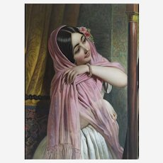 Oriental Woman Original Etching Handcolored In Watercolor And Gouache 19th Orientalist Art