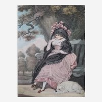 Antique Victorian Watercolor Etching old Print after English oil Painting by 18th Century,