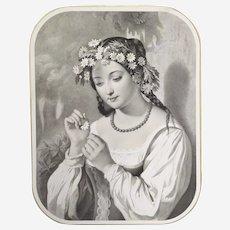 Antique original lithograph Romantic Female Portrait After French Oil Painting - 19th Print