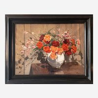 Antique Painting Still Life Oil On Canvas Flower Bouquet in a Vase by French Painter Roblin