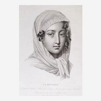 Female Portrait 19th Century - Original Engraving Print - After Drawn By Lemire