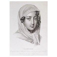 Female Portrait 19th Century - Original Engraving Print - After Drawn By Lemire