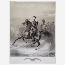 Equestrian Portrait King Napoleon III Horses riders 19th century Antique Etching  Old Print