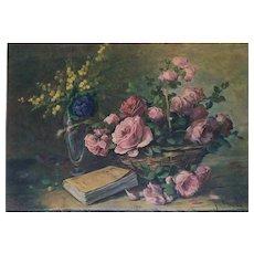 Still Life Roses Botanical Antique Print - 1940s French Flower Chromolithograph - Botany Print