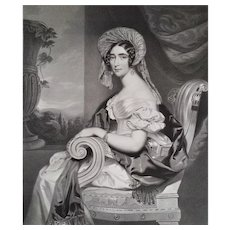 Female Portrait Of Augusta, Duchess Of Cambridge, 19th Etching Print After English Oil Painting By Robert Davy