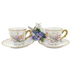 Porcelain Set - Golden Teacup And Saucer In Bone China Porcelain Limoges with floral decor