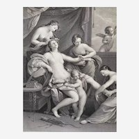 18th c  Mythological Etching Venus attired by the Graces from a painting by Guido Reni