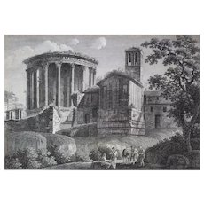 Landscape Engraving Architecture 18th Rome Temple Of La Sybille And Tivoli, De La Vesta By F. Morel