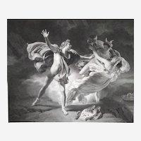 Neoclassical Mythological Engraving Orpheus And Eurydice 19th c